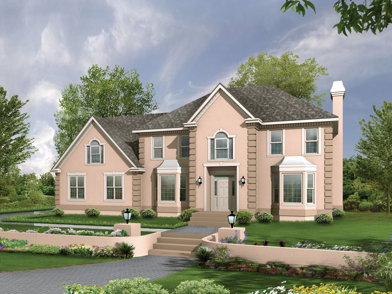 Georgian House Plan Front of Home 053D-0054