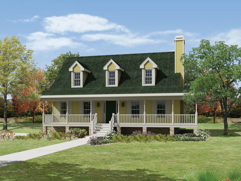 country style house with large covered front porch - Country Style House Plans