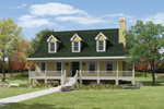 Country Style House With Large Covered Front Porch