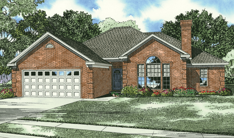 Ranch House Plan Front of Home 055D-0001