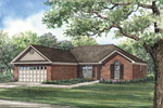 Traditional Brick Ranch Home With Arched Window