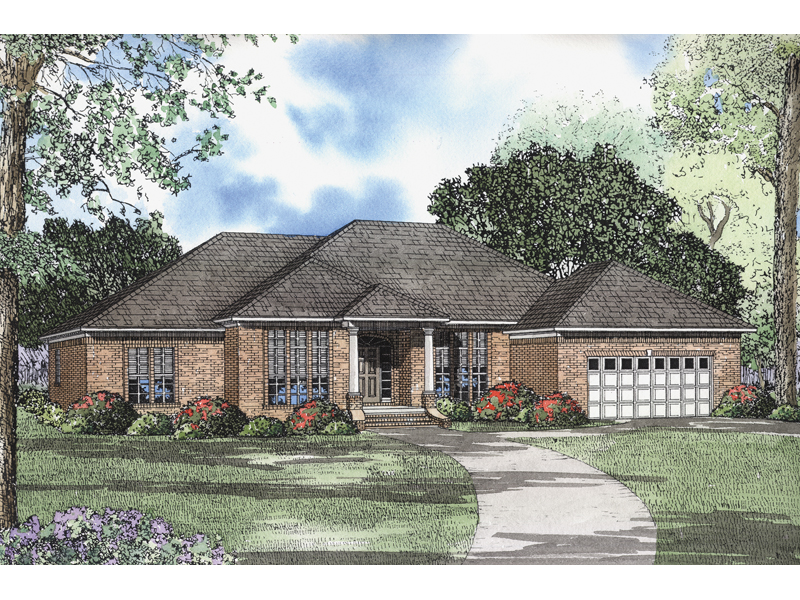 Ranch House Plan Front of Home - 055D-0014 | House Plans and More
