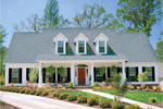 Country Style Home With large Covered Front Porch And Triple Dormers