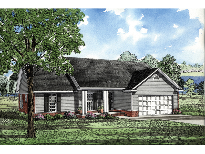 Ranch House Plan Front of Home 055D-0017
