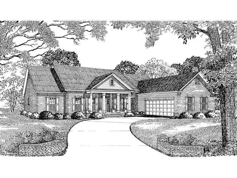 Neoclassical Style Ranch House With Side Entry Garage