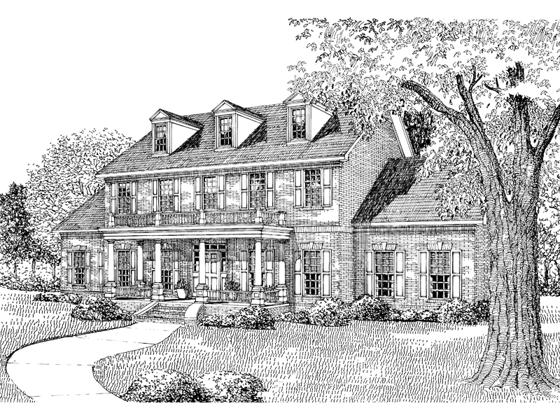 Traditional House Plan Front Image of House - 055D-0025 | House Plans and More