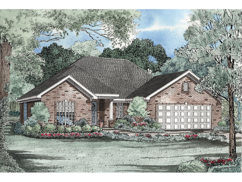 Traditional Brick Ranch With Covered Front Porch And Front Loading Garage