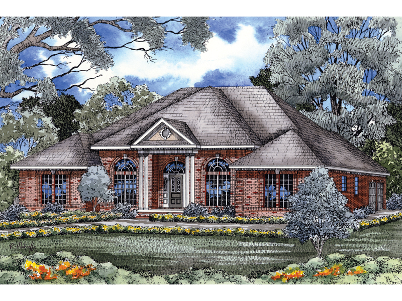 Ranch House Plan Front of Home 055D-0029