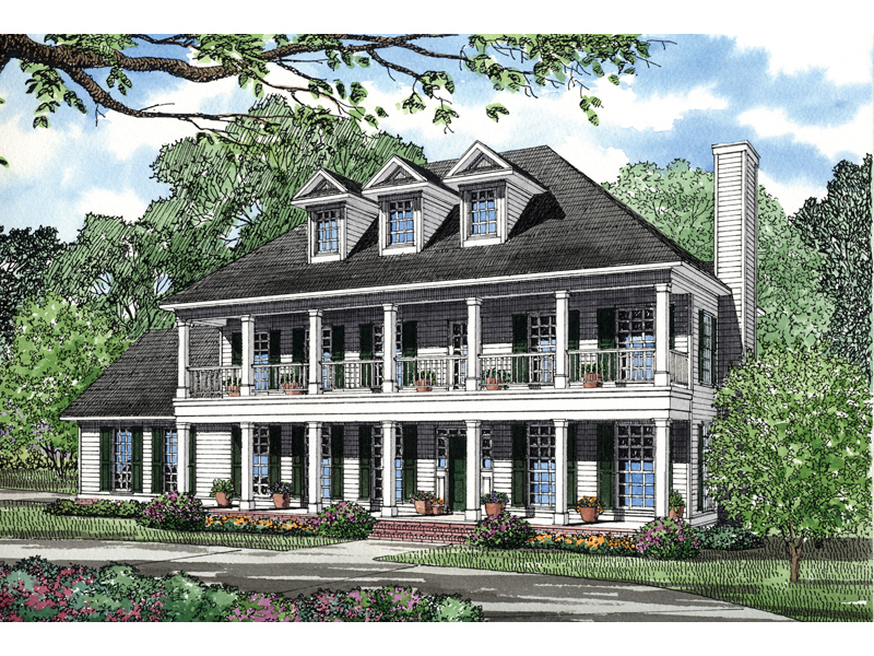 Colonial House Plan Front of Home 055D-0038