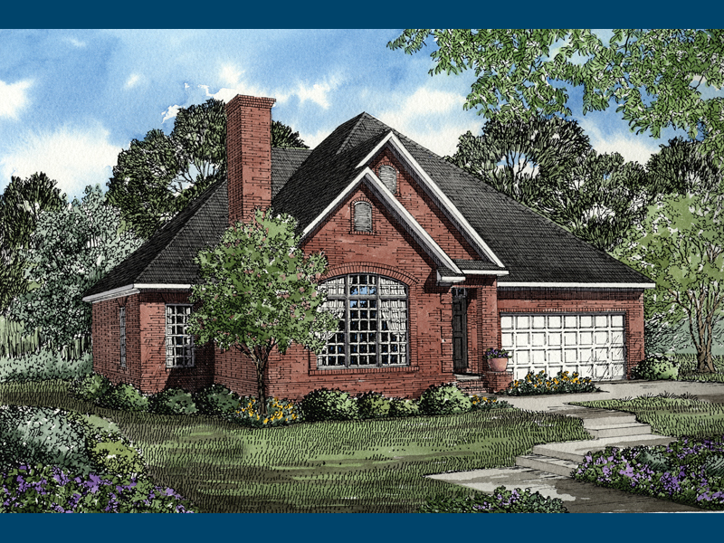 Ranch House Plan Front of Home 055D-0043