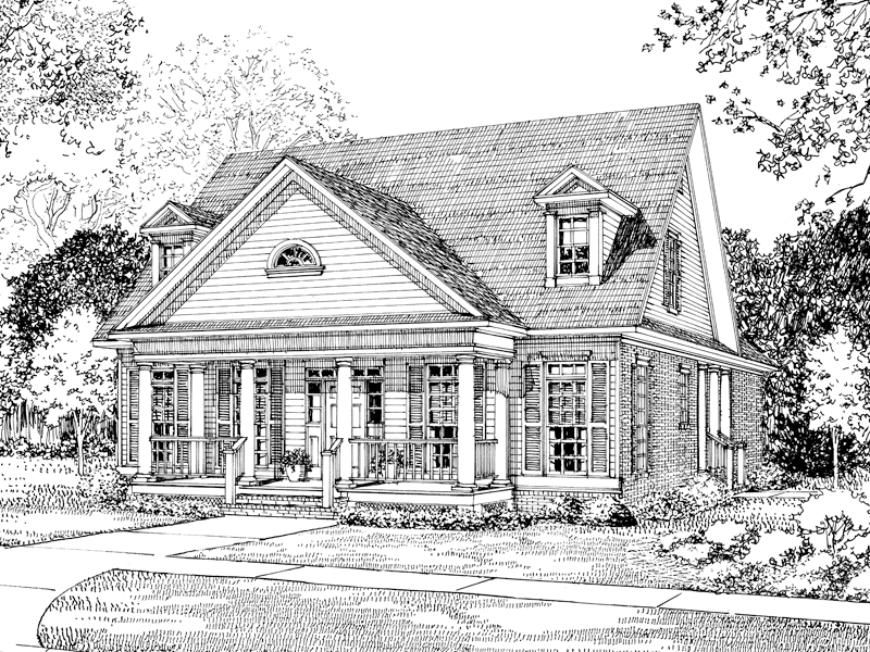 Neoclassical Home Plan Front Image of House - 055D-0048 | House Plans and More