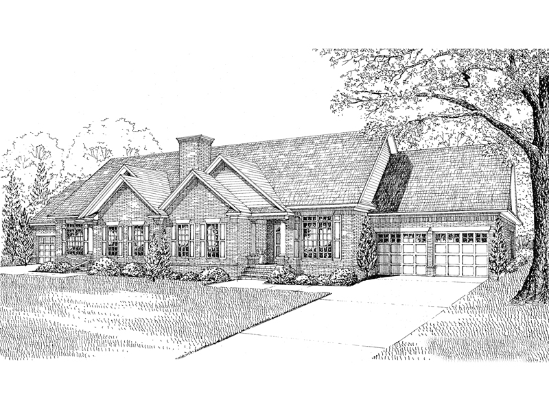 Traditional House Plan Front Image of House - 055D-0058 | House Plans and More