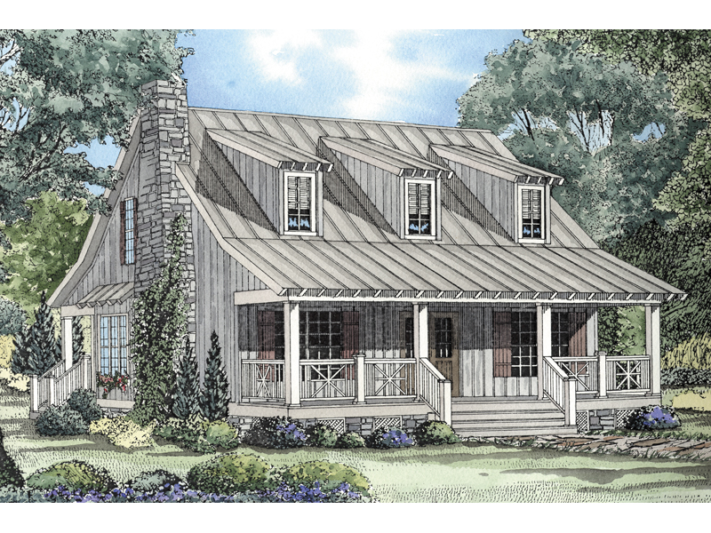 Cabin & Cottage House Plan Front of Home 055D-0064