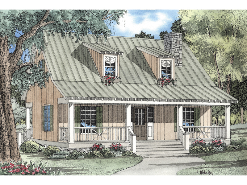 Cozy Cabin Style With metal Roof And Covered Front Porch