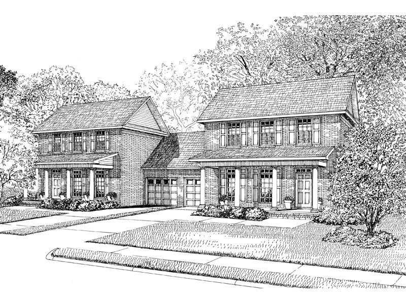 Multi-Family House Plan Front Image of House - 055D-0074 | House Plans and More