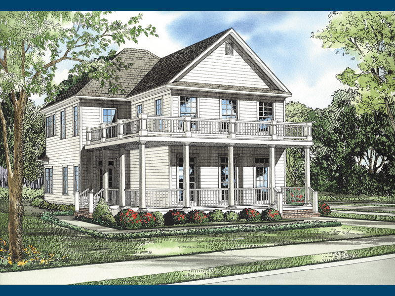 Primrose country home plan 055d 0099 house plans and more for Double front porch house plans