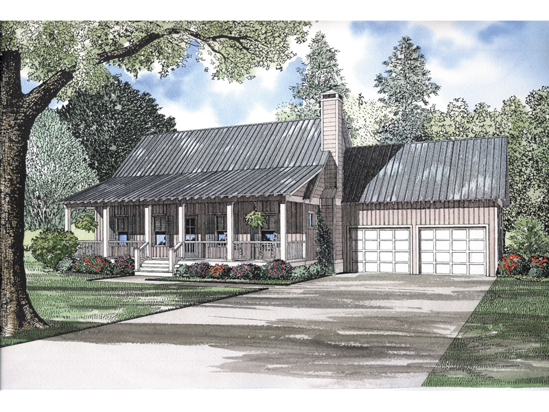 Casual Cabin Style Home With Deep Covered Front Porch