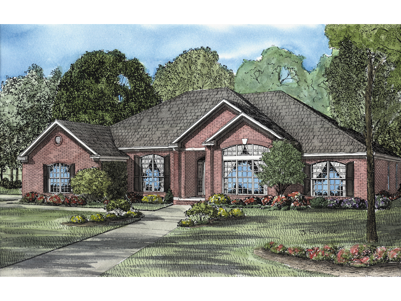 Ranch House Plan Front of Home - 055D-0108 | House Plans and More