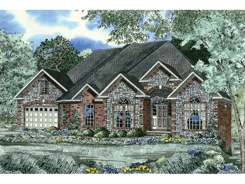 Mulitple Gables And Stone Exterior Make This Design