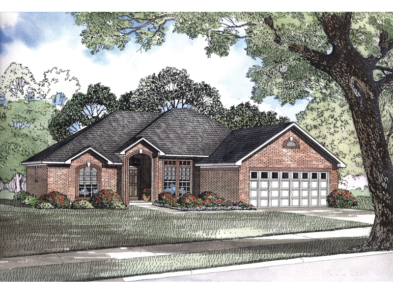 Ranch House Plan Front of Home 055D-0158