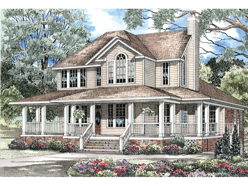 Home Design Is Enhanced With Wrap-Around Porch And Many Windows