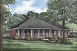 Neoclassical Ranch With Hip Roof Design And Columned Front Porch