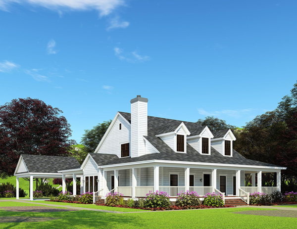 Casalone ridge ranch home plan 055d 0196 house plans and for Country style homes with wrap around porch