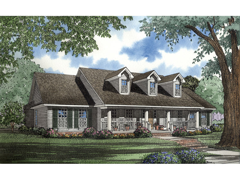 country style ranch with triple dormers and covered front porch - Country Style House Plans