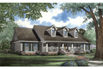 Country Style Ranch With Triple Dormers And Covered Front Porch