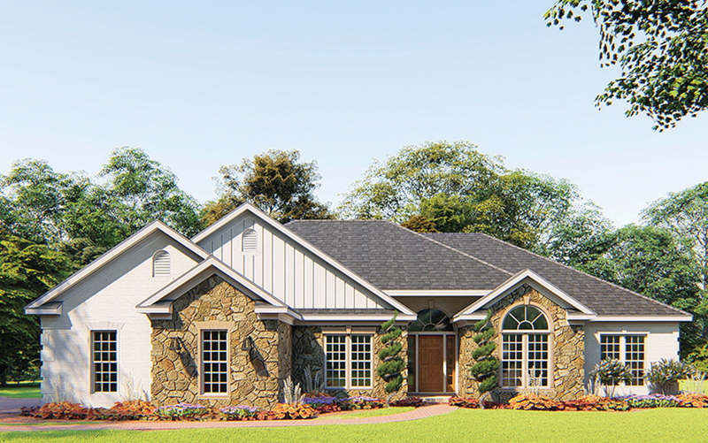 Ranch House Plan Front of Home 055D-0205