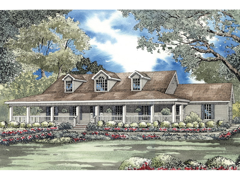Country House Plan Front of Home 055D-0213
