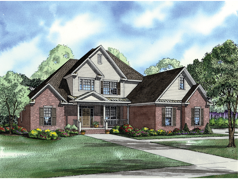 Traditional House Plan Front of Home 055D-0216