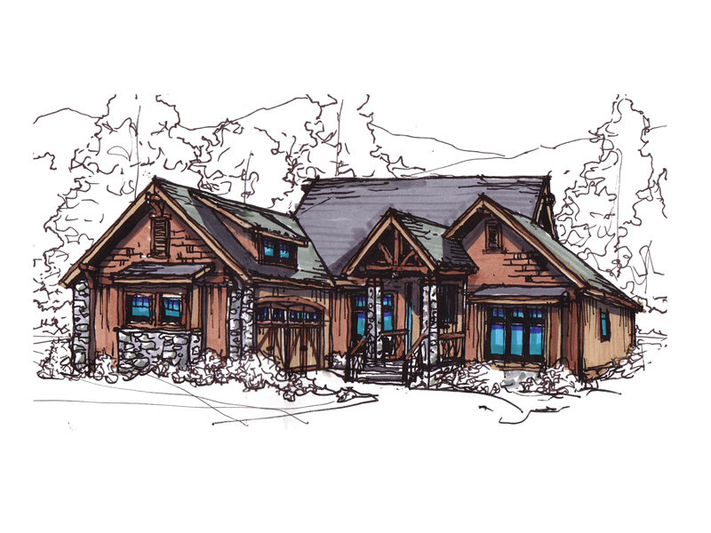 Traditional House Plan Front of Home 055D-0260