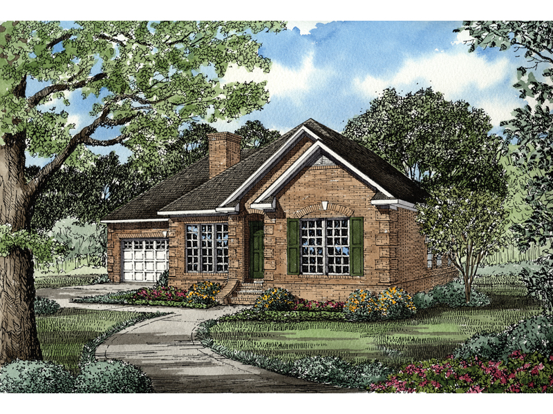 Ranch House Plan Front of Home - 055D-0300 | House Plans and More