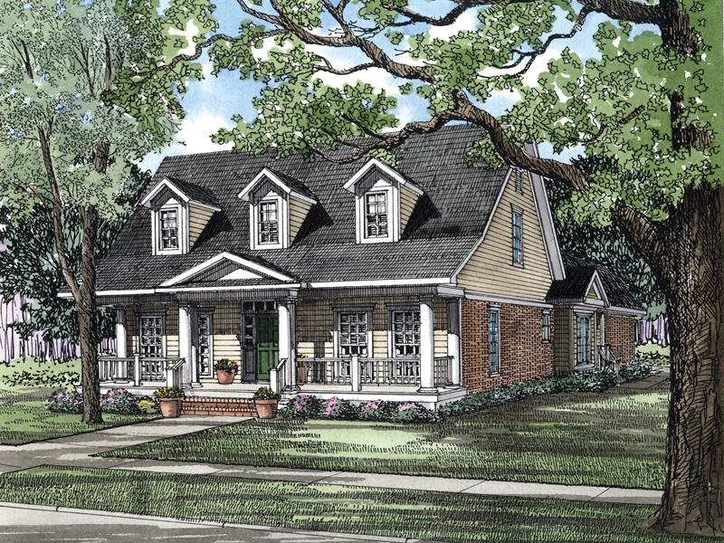 Country Style Is Accentuated With Slope Roof And Wide Porch