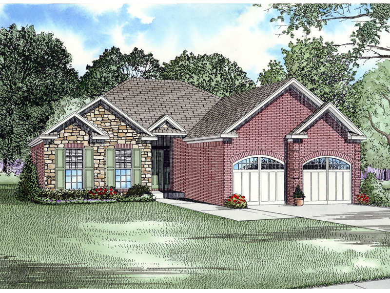 Ranch House Plan Front of Home - 055D-0355 | House Plans and More