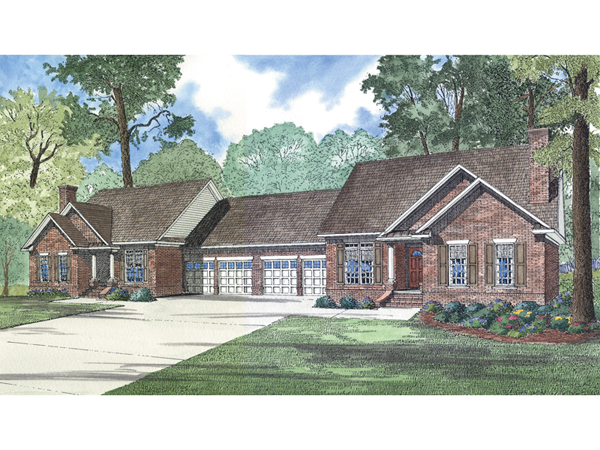 La belle park ranch duplex plan 055d 0358 house plans for Ranch duplex plans