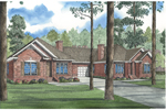 All Brick Ranch Multi-Family Plan With Stylish Gables
