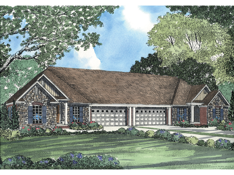 Country Style Multi-Family House Plan