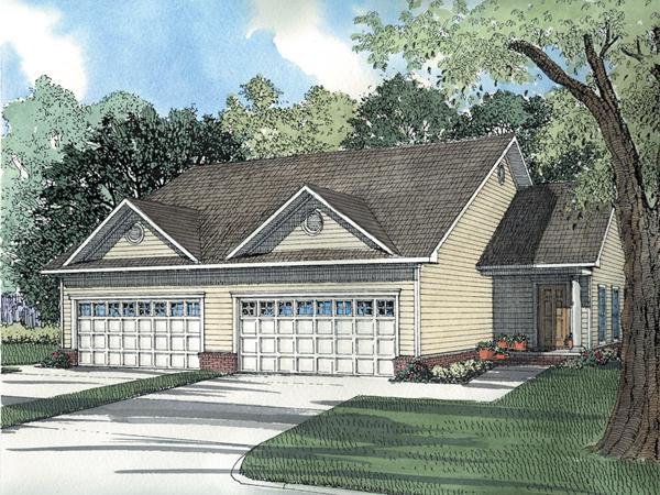 Furlong ranch style duplex plan 055d 0383 house plans for Ranch style duplex plans