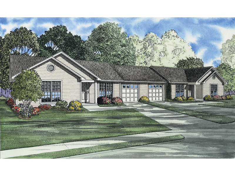 Wildbrook acres ranch duplex plan 055d 0396 house plans for Ranch style duplex plans