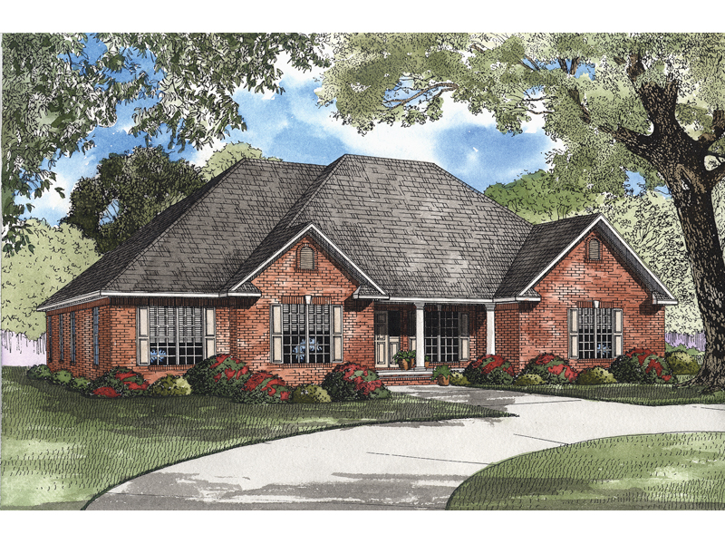 Dresser hill ranch home plan 055d 0412 house plans and more for Brick home floor plans with pictures