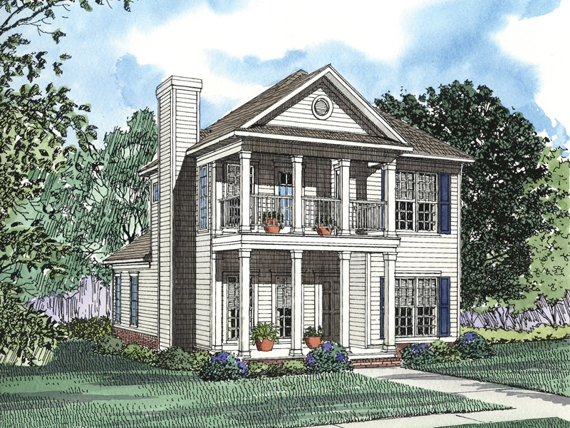 First And Second Floor Porches Add Curb Appeal To This Plantation Home