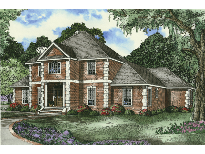 Georgian House Plan Front of Home 055D-0453
