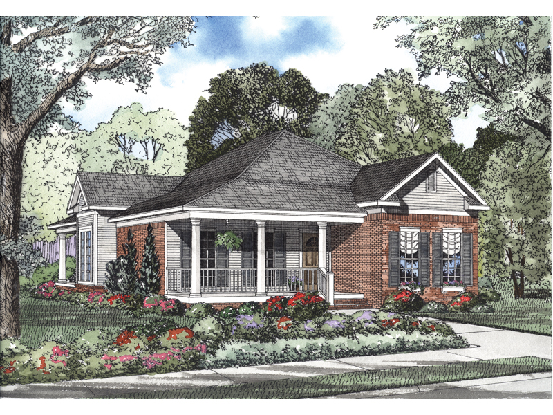Ranch House Plan Front of Home - 055D-0464 | House Plans and More