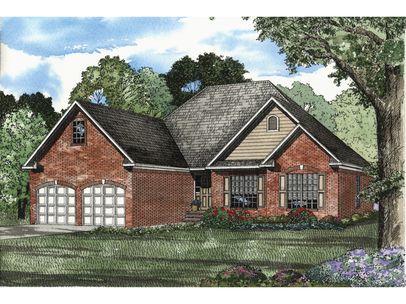 Ranch House Plan Front of Home - 055D-0466 | House Plans and More