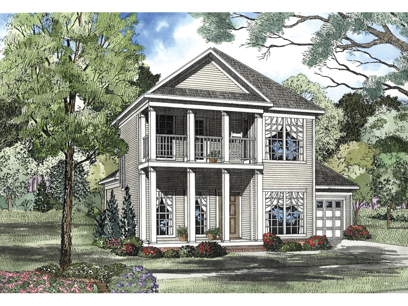 Southern Plantation Home Has A Columned Porch And Upper Balcony
