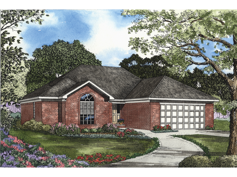 Traditional House Plan Front of Home 055D-0471