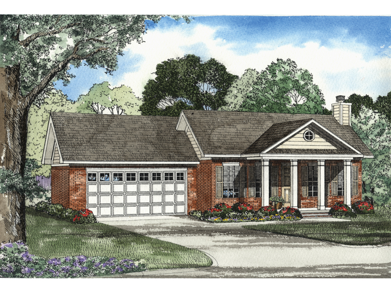 Four Tall Columns Flank The Porch Of This Brick Ranch Home