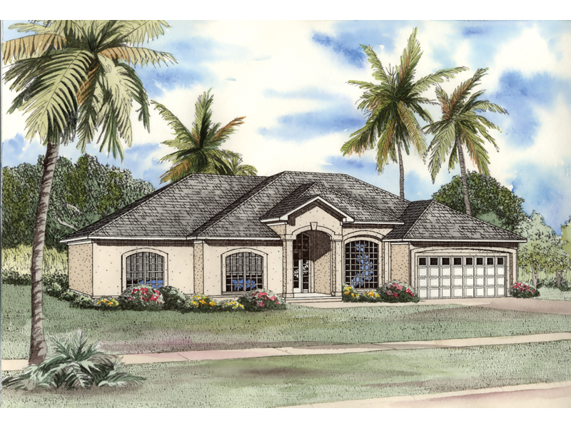 Southwestern House Plan Front of Home 055D-0497